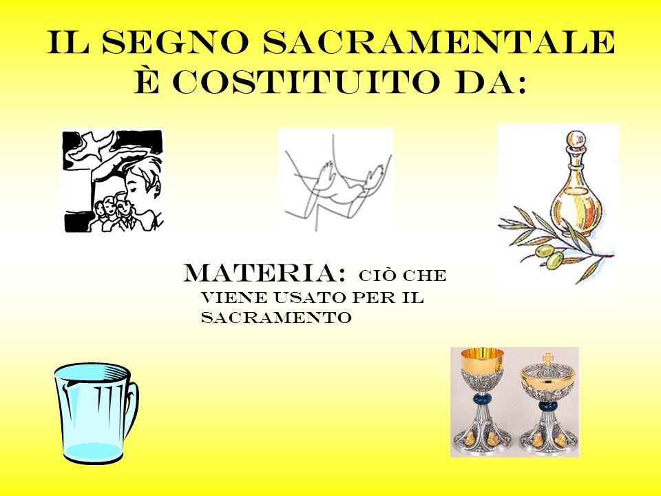 Il segno sacramentale è costituito da: Materia: ciò che viene usato per il sacramento