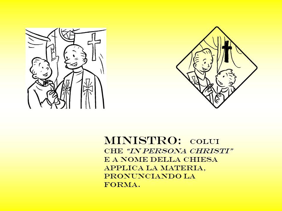 IN PERSONA CHRISTI MINISTRO: COLUI CHE IN PERSONA CHRISTI E A NOME DELLA CHIESA APPLICA LA MATERIA, PRONUNCIANDO LA FORMA.