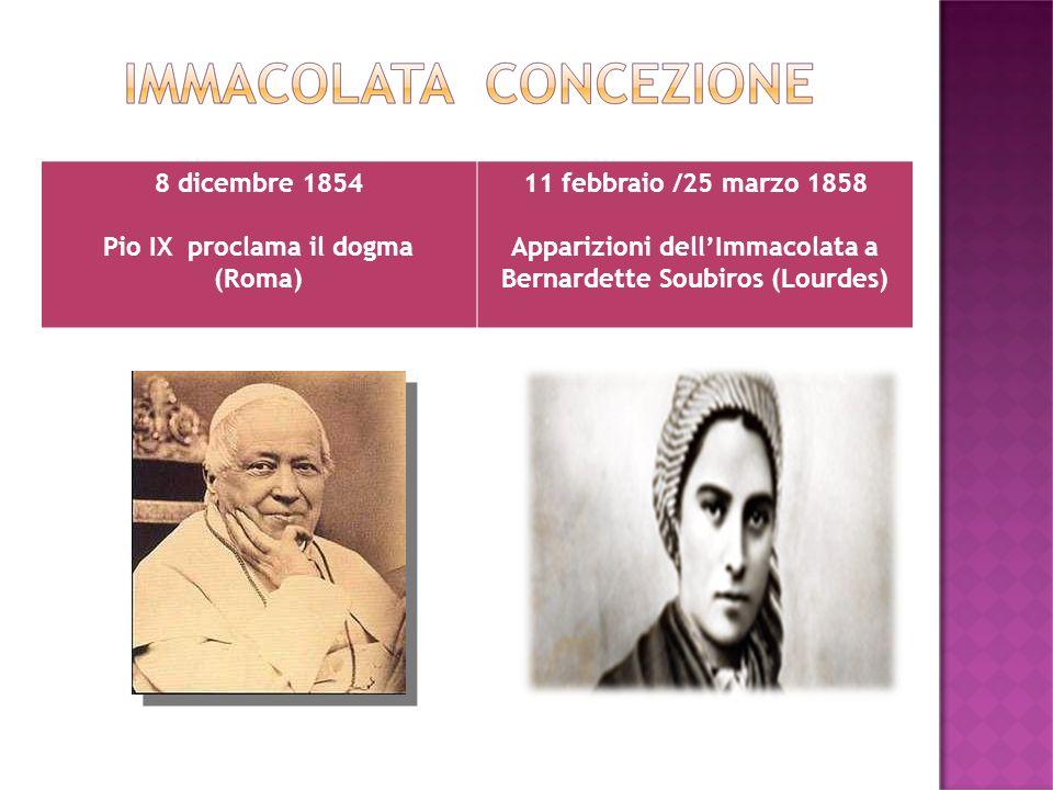 8 dicembre 1854 Pio IX proclama il dogma (Roma) 11 febbraio /25 marzo 1858 Apparizioni dellImmacolata a Bernardette Soubiros (Lourdes)