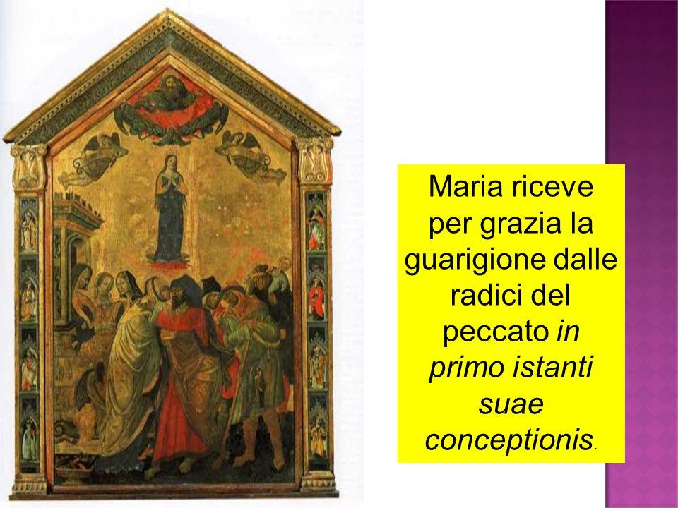 Maria riceve per grazia la guarigione dalle radici del peccato in primo istanti suae conceptionis.