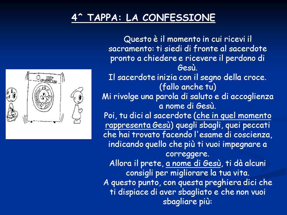 4^ TAPPA: LA CONFESSIONE Questo è il momento in cui ricevi il sacramento: ti siedi di fronte al sacerdote pronto a chiedere e ricevere il perdono di Gesù.