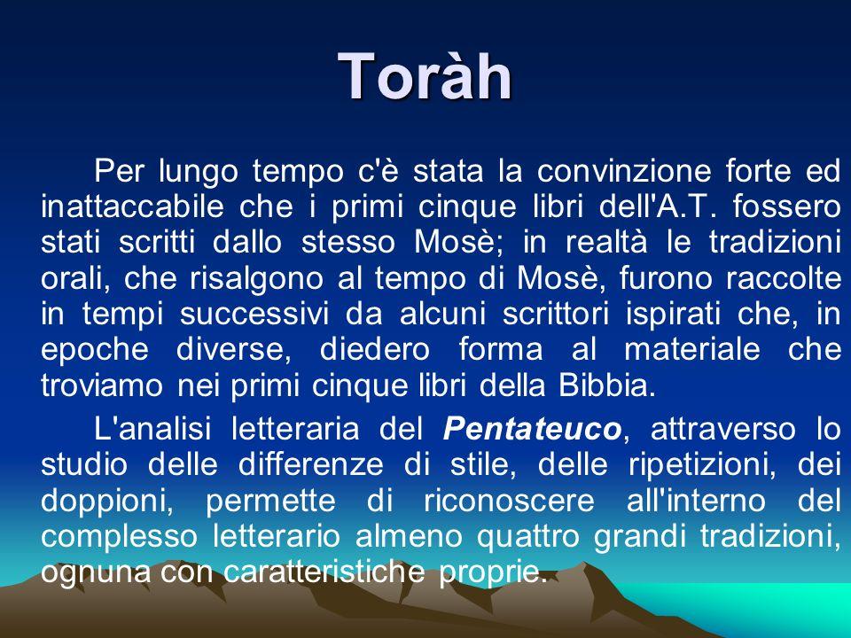 Toràh Per lungo tempo c'è stata la convinzione forte ed inattaccabile che i primi cinque libri dell'A.T. fossero stati scritti dallo stesso Mosè; in r