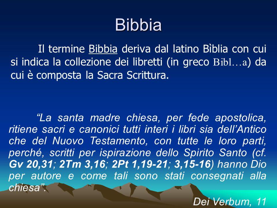 Bibbia Il termine Bibbia deriva dal latino Bìblia con cui si indica la collezione dei libretti (in greco Bibl…a ) da cui è composta la Sacra Scrittura