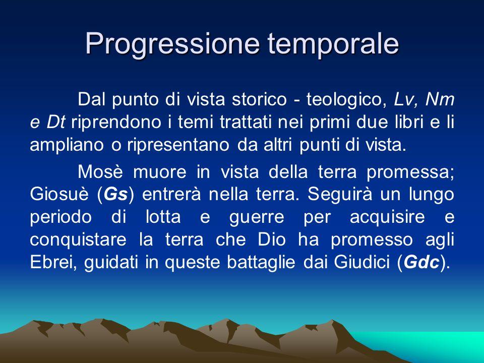 Progressione temporale Dal punto di vista storico - teologico, Lv, Nm e Dt riprendono i temi trattati nei primi due libri e li ampliano o ripresentano