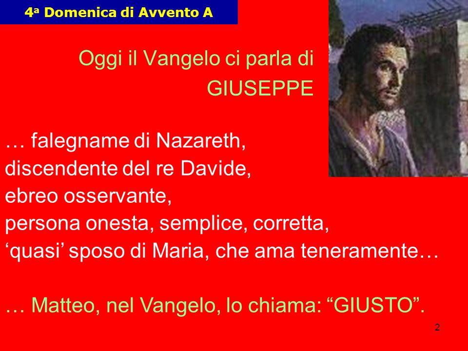 2 4 a Domenica di Avvento A Oggi il Vangelo ci parla di GIUSEPPE … falegname di Nazareth, discendente del re Davide, ebreo osservante, persona onesta,