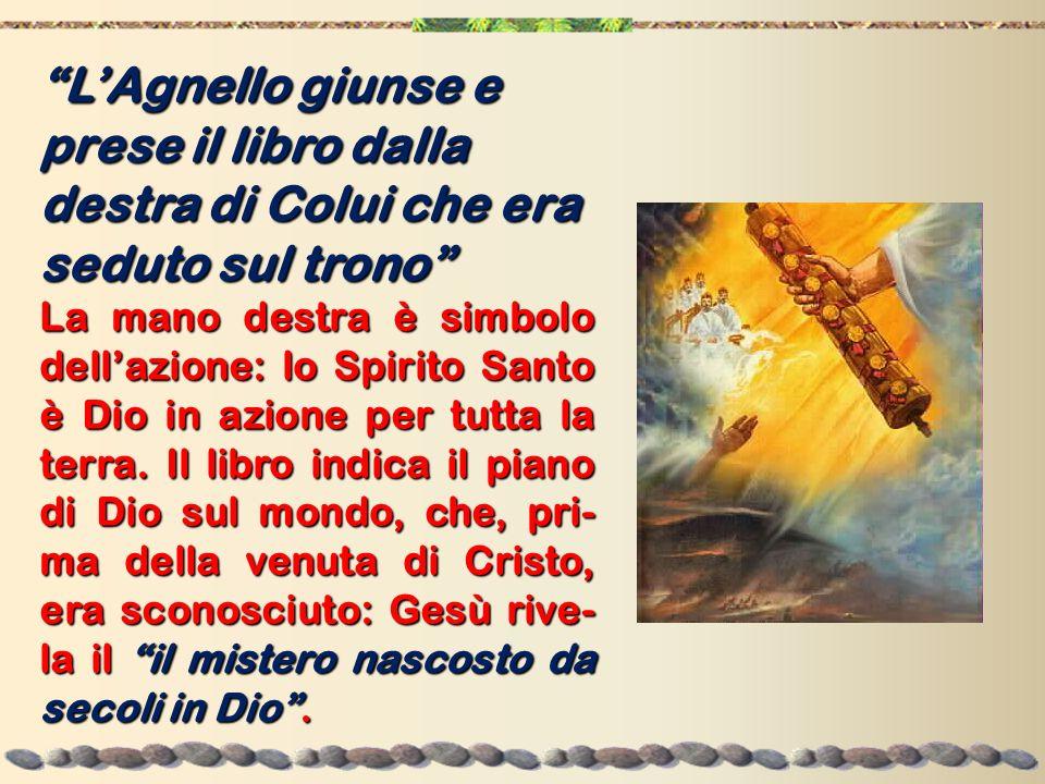 LAgnello giunse e prese il libro dalla destra di Colui che era seduto sul trono La mano destra è simbolo dellazione: lo Spirito Santo è Dio in azione