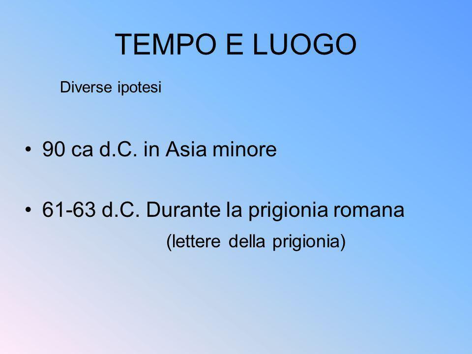 TEMPO E LUOGO 90 ca d.C. in Asia minore 61-63 d.C. Durante la prigionia romana (lettere della prigionia) Diverse ipotesi