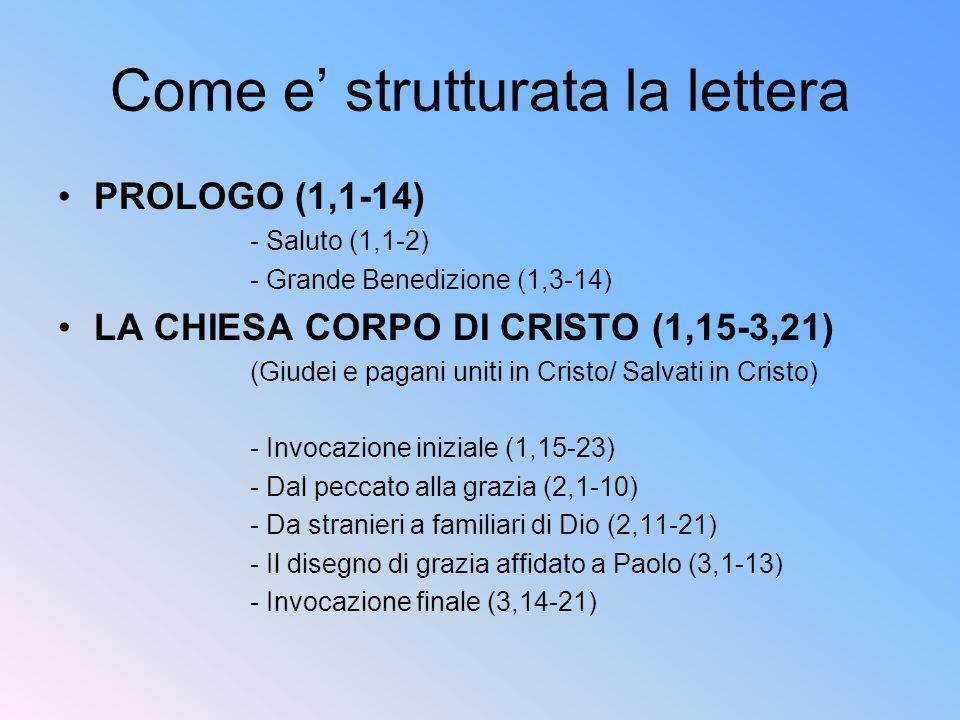I CRISTIANI UOMINI NUOVI IN CRISTO(4,1-6,20) (I battezzati nel mondo / vita cristiana) - Unità e diversità nella Chiesa (4,1-16) - Dalluomo vecchio alluomo nuovo (4,17-5,2) - Dalle tenebre alla luce (5,3-20) - Il codice domestico (5,21-6,9) - Il combattimento spirituale (6,10-20) EPILOGO (6,21-24) - Conclusione (6,21-22) - Saluto (6,23-24)