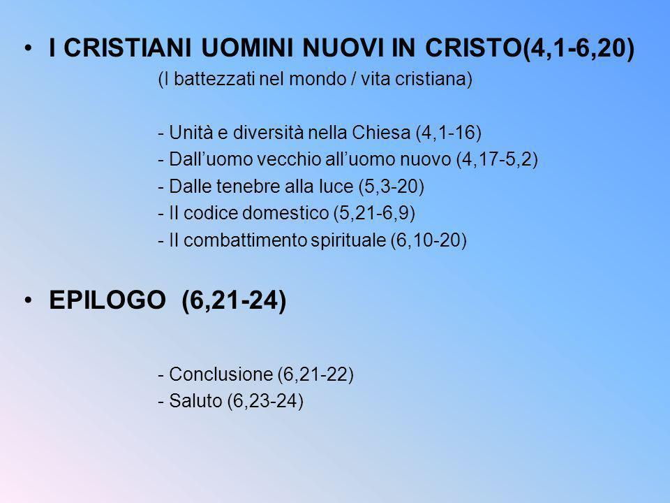 I CRISTIANI UOMINI NUOVI IN CRISTO(4,1-6,20) (I battezzati nel mondo / vita cristiana) - Unità e diversità nella Chiesa (4,1-16) - Dalluomo vecchio al