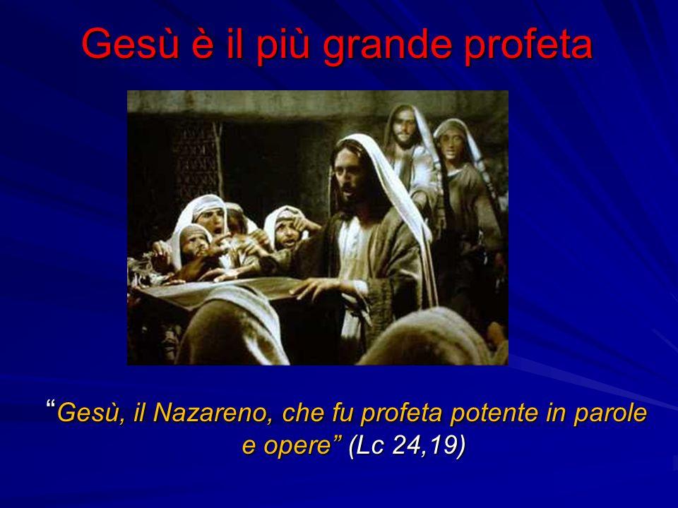 Gesù è il più grande profeta Gesù, il Nazareno, che fu profeta potente in parole e opere (Lc 24,19) Gesù, il Nazareno, che fu profeta potente in parole e opere (Lc 24,19)