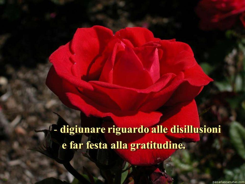 Sue - digiunare riguardo alle disillusioni e far festa alla gratitudine. - d- digiunare riguardo alle disillusioni e far festa alla gratitudine.