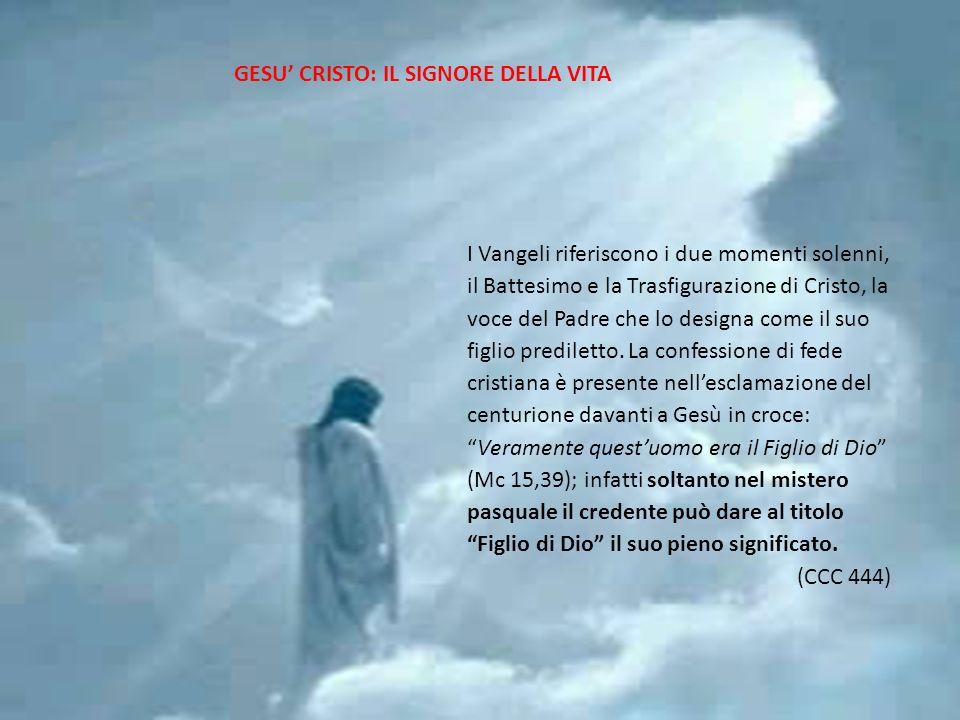 2222 I Vangeli riferiscono i due momenti solenni, il Battesimo e la Trasfigurazione di Cristo, la voce del Padre che lo designa come il suo figlio pre