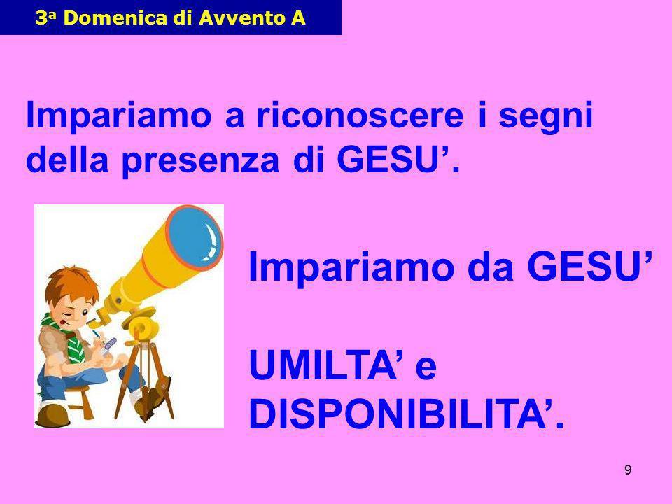 9 3 a Domenica di Avvento A Impariamo a riconoscere i segni della presenza di GESU. Impariamo da GESU UMILTA e DISPONIBILITA.