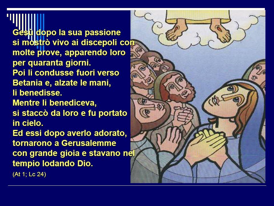 Gesù dopo la sua passione si mostrò vivo ai discepoli con molte prove, apparendo loro per quaranta giorni.