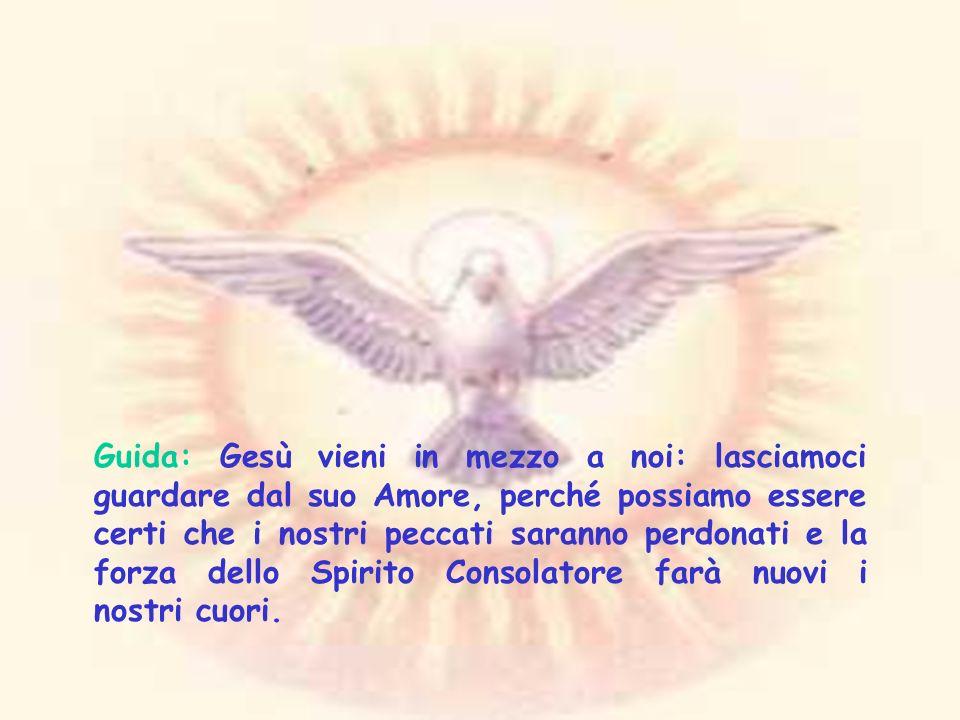 Preghiera allo Spirito Santo Siamo dinanzi a te, o Spirito Santo, Signore: inceppati dalla gravita del peccato, ma riuniti nel tuo nome.