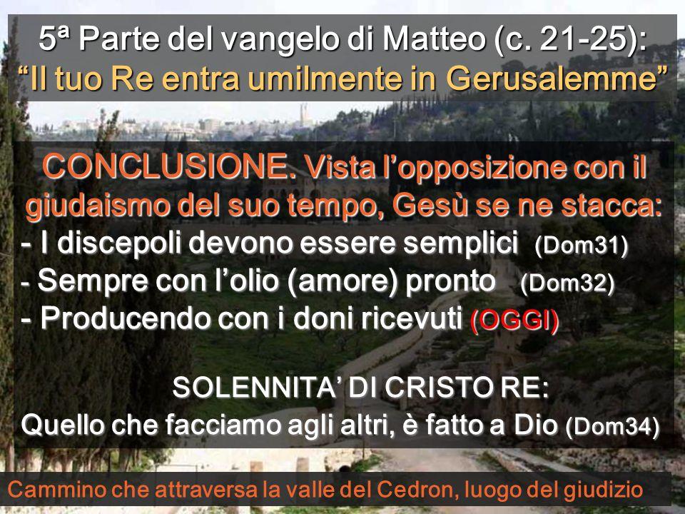 5ª Parte del vangelo di Matteo (c. 21-25):Il tuo Re entra umilmente in Gerusalemme CONCLUSIONE. Vista lopposizione con il giudaismo del suo tempo, Ges