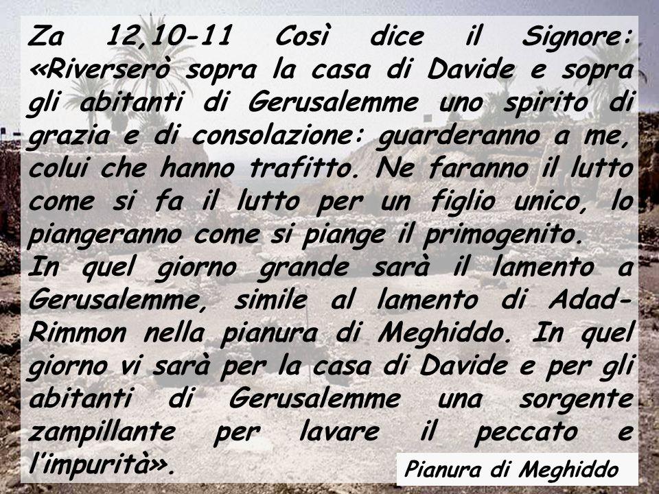 Za 12,10-11 Così dice il Signore: «Riverserò sopra la casa di Davide e sopra gli abitanti di Gerusalemme uno spirito di grazia e di consolazione: guar