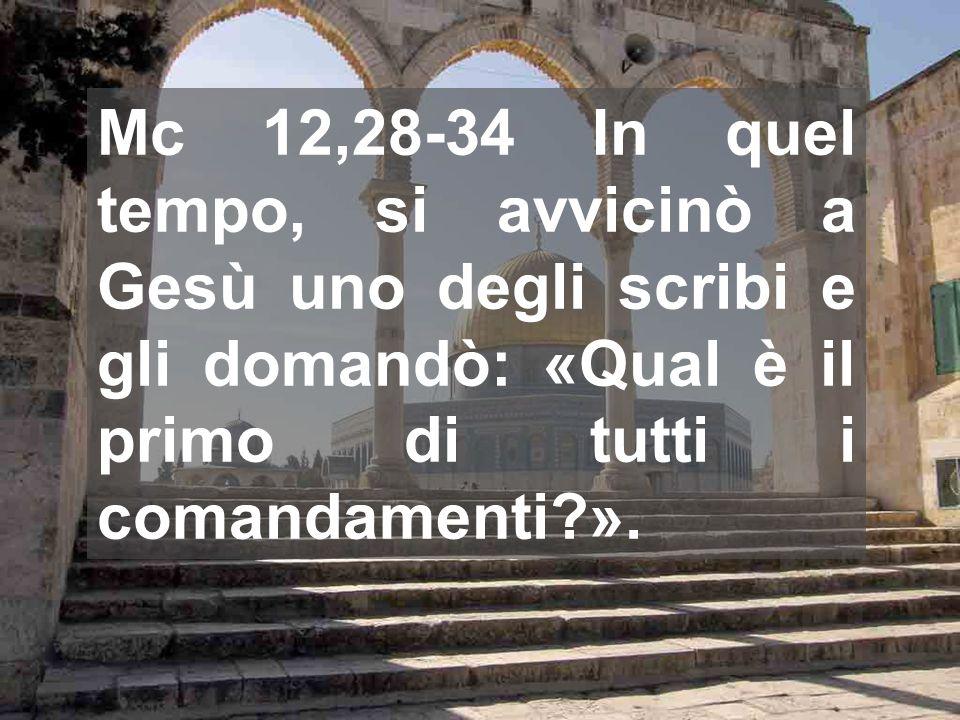 Mc 12,28-34 In quel tempo, si avvicinò a Gesù uno degli scribi e gli domandò: «Qual è il primo di tutti i comandamenti?».