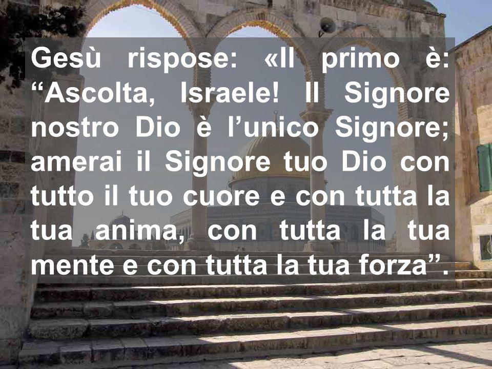 Gesù rispose: «Il primo è: Ascolta, Israele! Il Signore nostro Dio è lunico Signore; amerai il Signore tuo Dio con tutto il tuo cuore e con tutta la t