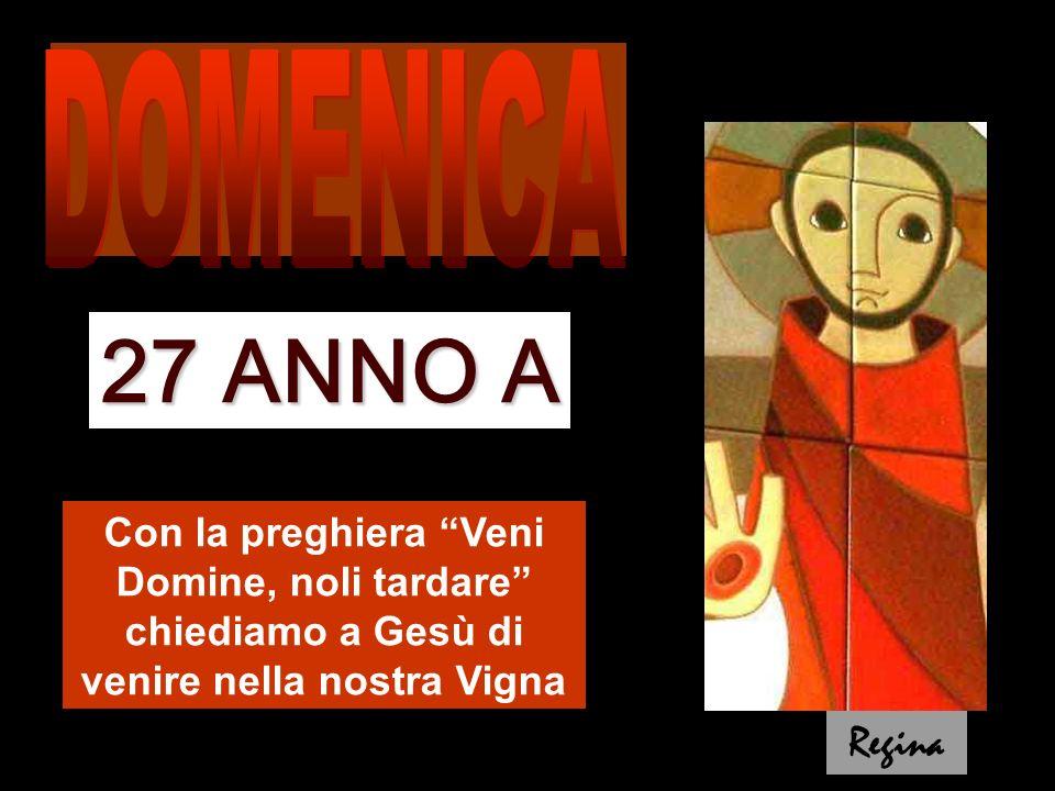 Con la preghiera Veni Domine, noli tardare chiediamo a Gesù di venire nella nostra Vigna 27 ANNO A Regina