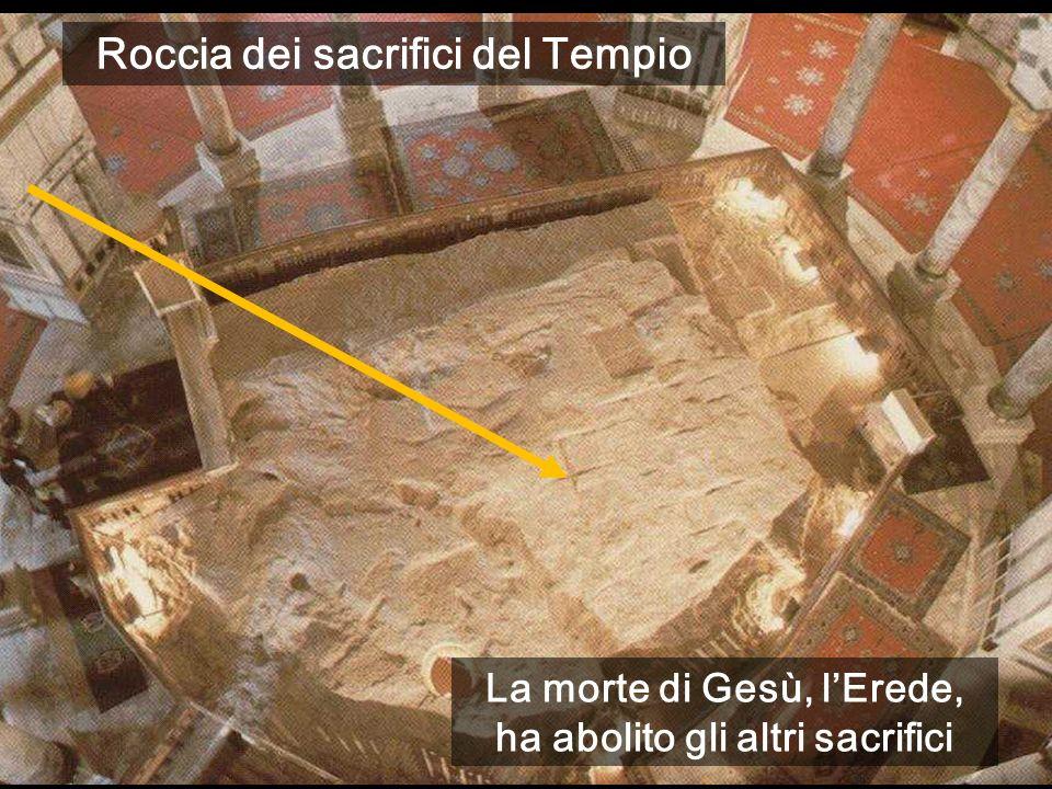La morte di Gesù, lErede, ha abolito gli altri sacrifici Roccia dei sacrifici del Tempio