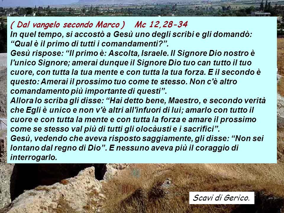Scavi di Gerico. ( Dal vangelo secondo Marco ) Mc 12,28-34 In quel tempo, si accostò a Gesù uno degli scribi e gli domandò: Qual è il primo di tutti i