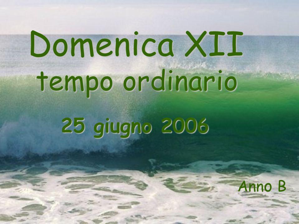 Domenica XII tempo ordinario tempo ordinario 25 giugno 2006 Ann o B
