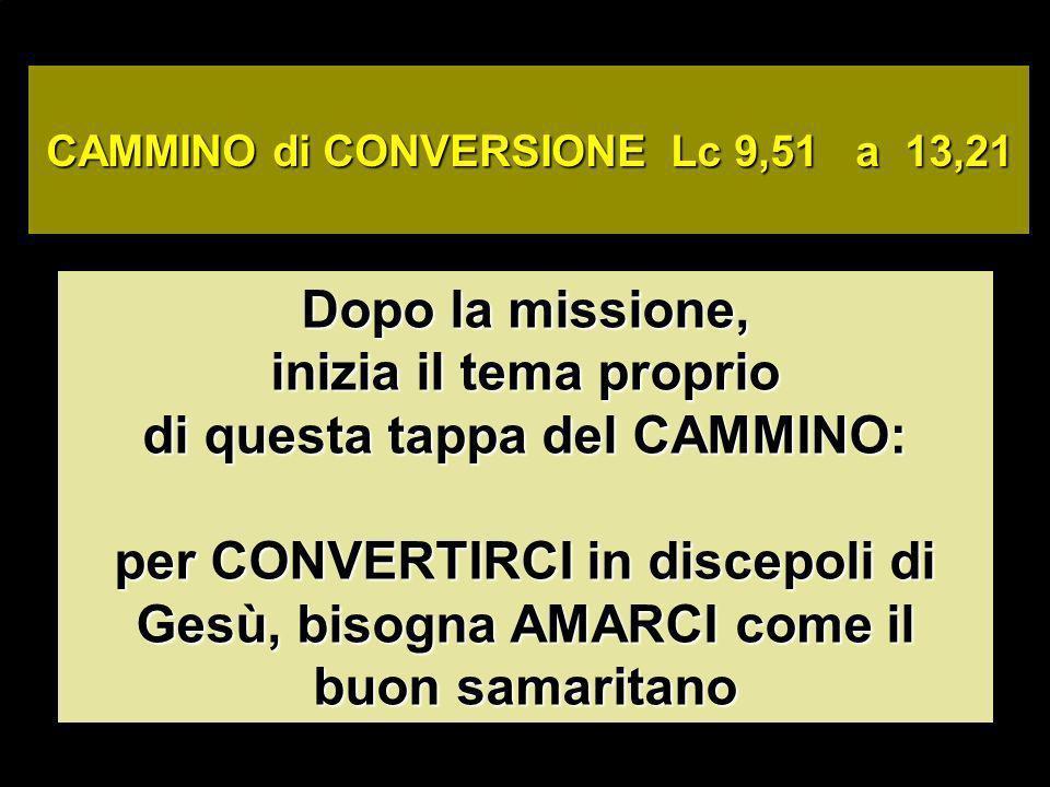 CAMMINO di CONVERSIONE Lc 9,51 a 13,21 Dopo la missione, inizia il tema proprio di questa tappa del CAMMINO: per CONVERTIRCI in discepoli di Gesù, bisogna AMARCI come il buon samaritano