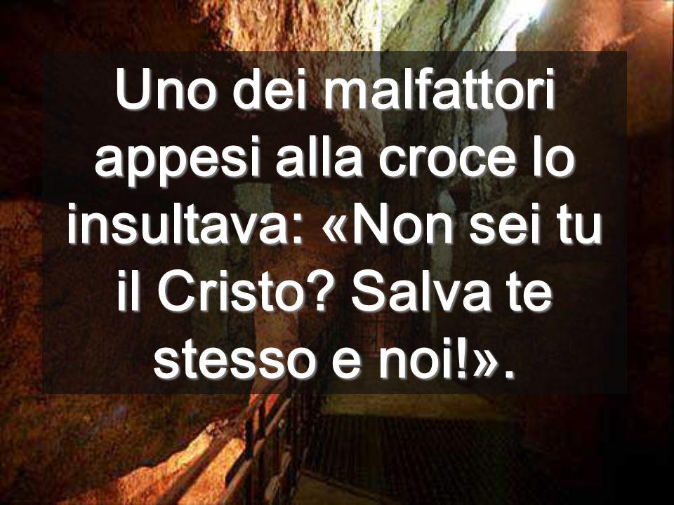 Uno dei malfattori appesi alla croce lo insultava: «Non sei tu il Cristo? Salva te stesso e noi!».