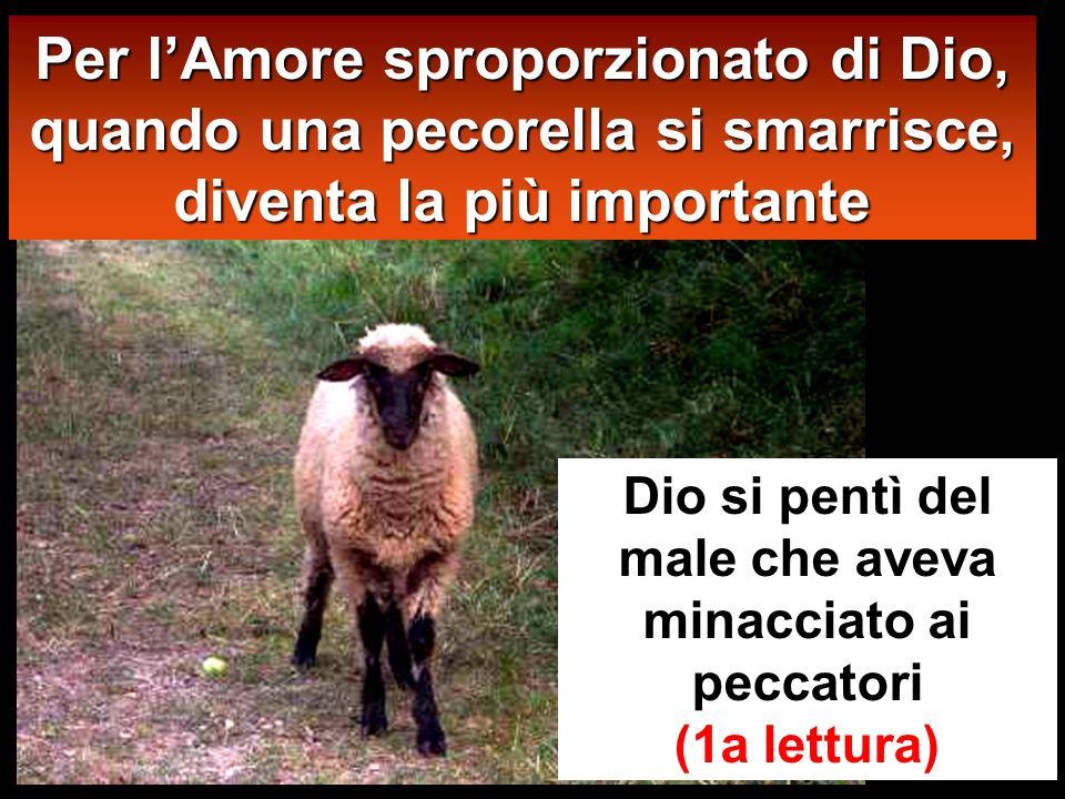 Per lAmore sproporzionato di Dio, quando una pecorella si smarrisce, diventa la più importante Dio si pentì del male che aveva minacciato ai peccatori (1a lettura)