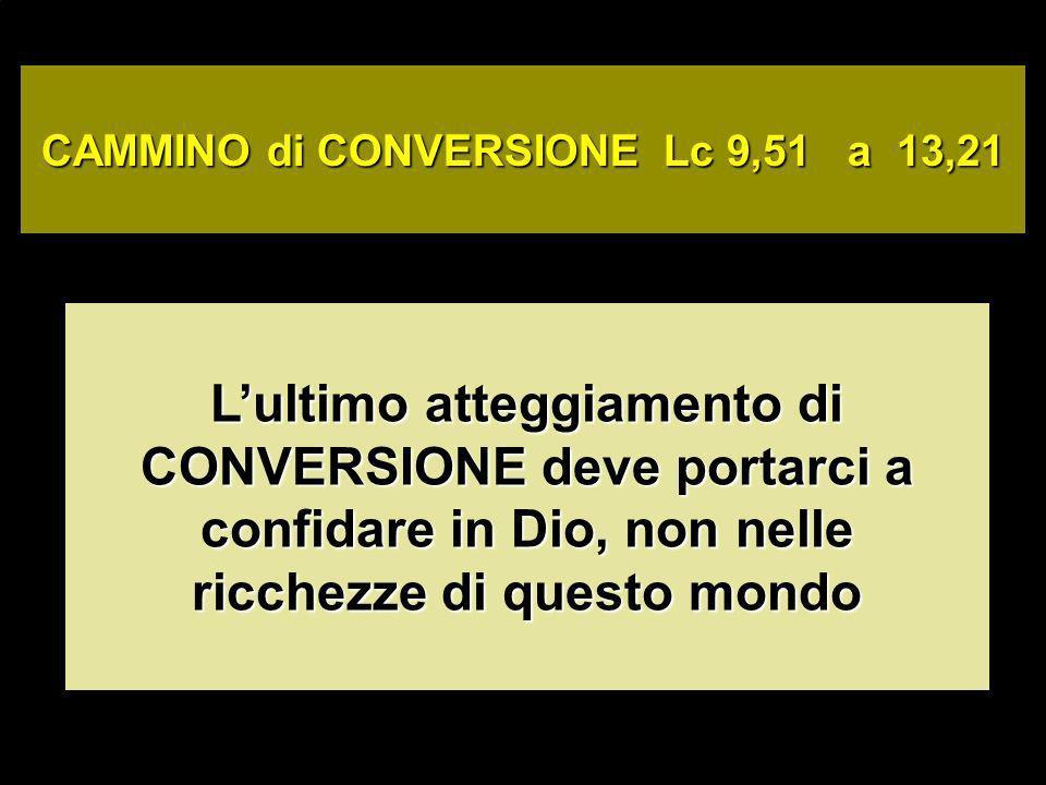 CAMMINO di CONVERSIONE Lc 9,51 a 13,21 Lultimo atteggiamento di CONVERSIONE deve portarci a confidare in Dio, non nelle ricchezze di questo mondo