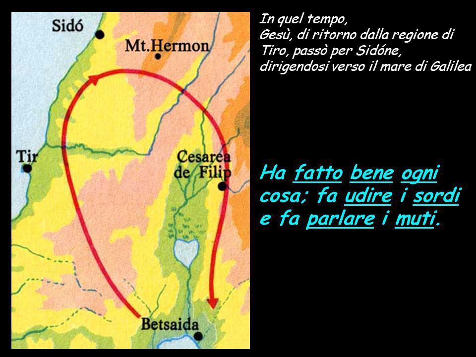 In quel tempo, Gesù, di ritorno dalla regione di Tiro, passò per Sidóne, dirigendosi verso il mare di Galilea Ha fatto bene ogni cosa; fa udire i sordi e fa parlare i muti.