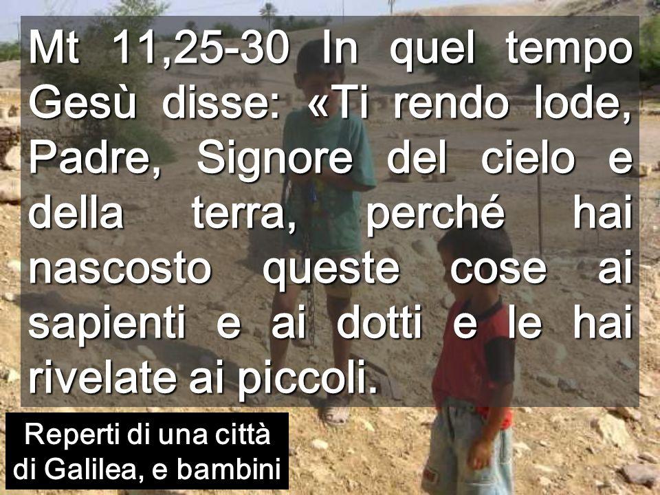 Mt 11,25-30 In quel tempo Gesù disse: «Ti rendo lode, Padre, Signore del cielo e della terra, perché hai nascosto queste cose ai sapienti e ai dotti e