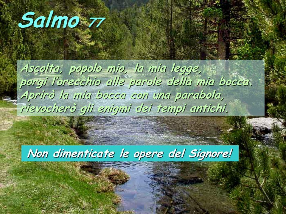 Salmo 77 Ascolta, popolo mio, la mia legge, porgi lorecchio alle parole della mia bocca.