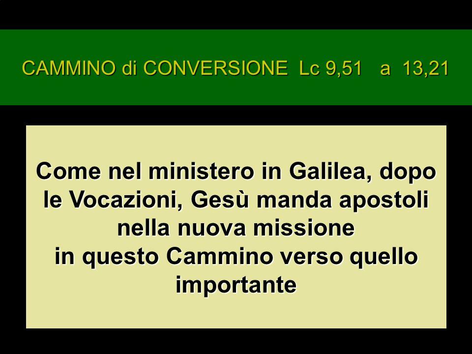 CAMMINO di CONVERSIONE Lc 9,51 a 13,21 Come nel ministero in Galilea, dopo le Vocazioni, Gesù manda apostoli nella nuova missione in questo Cammino verso quello importante