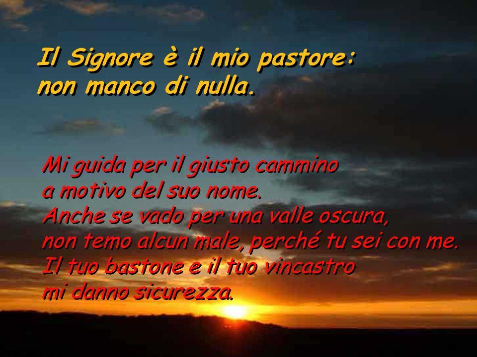 Salmo 22 Il Signore è il mio pastore: non manco di nulla. Il Signore è il mio pastore: non manco di nulla. Su pascoli erbosi mi fa riposare, ad acque