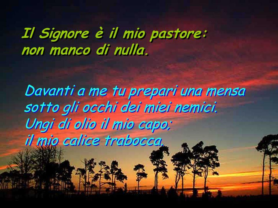 Il Signore è il mio pastore: non manco di nulla. Il Signore è il mio pastore: non manco di nulla. Mi guida per il giusto cammino a motivo del suo nome