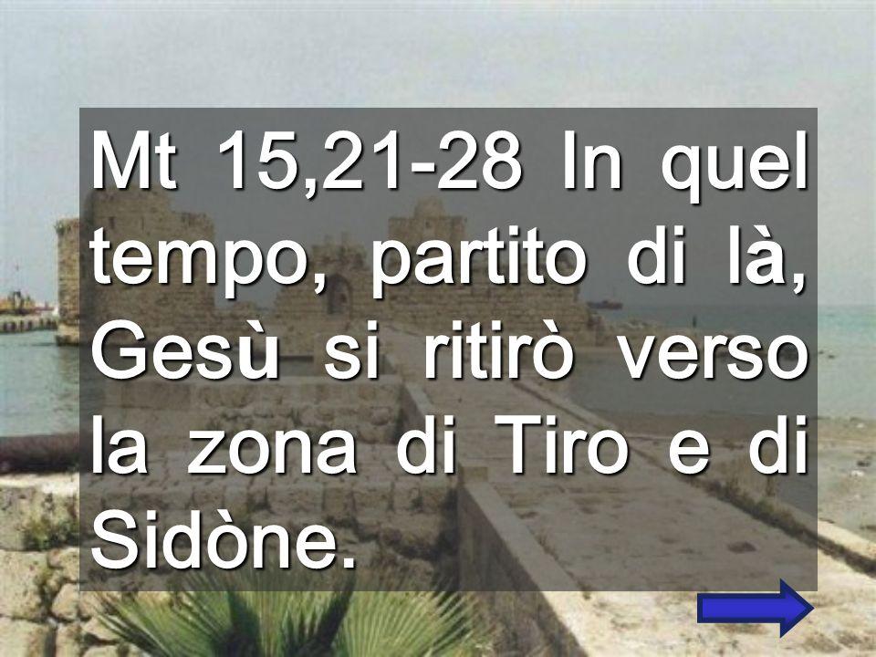 Mt 15,21-28 In quel tempo, partito di l à, Ges ù si ritirò verso la zona di Tiro e di Sidòne.