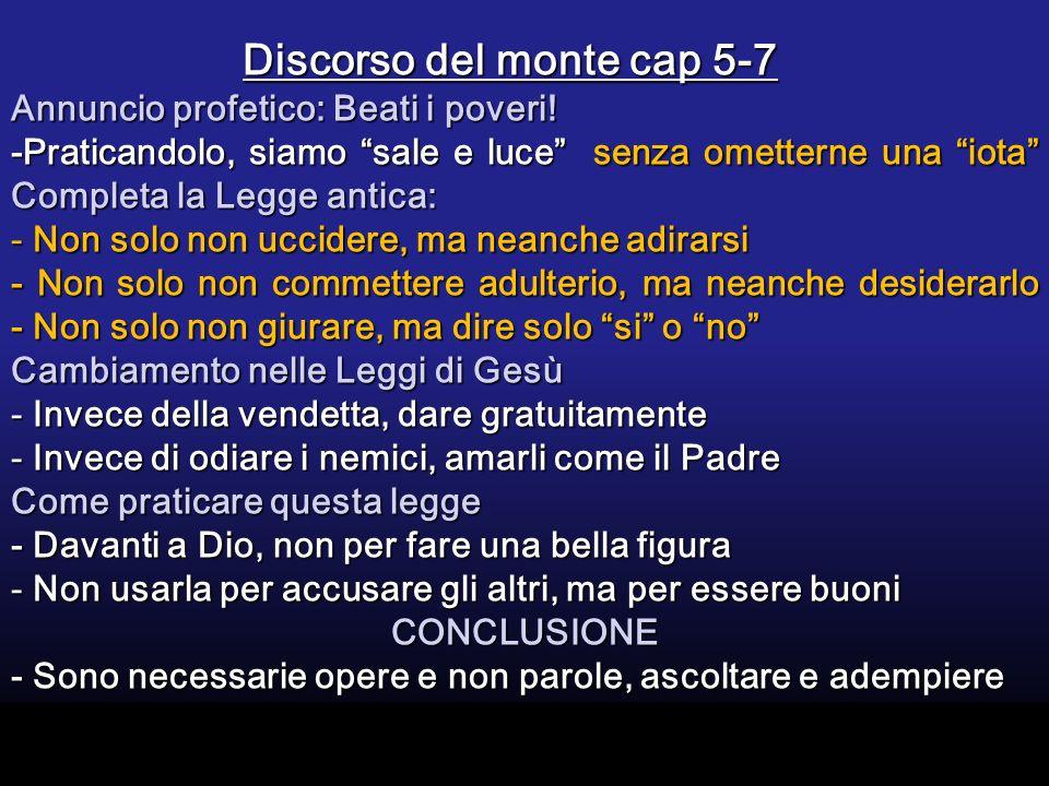 Discorso del monte cap 5-7 Discorso del monte cap 5-7 Annuncio profetico: Beati i poveri.
