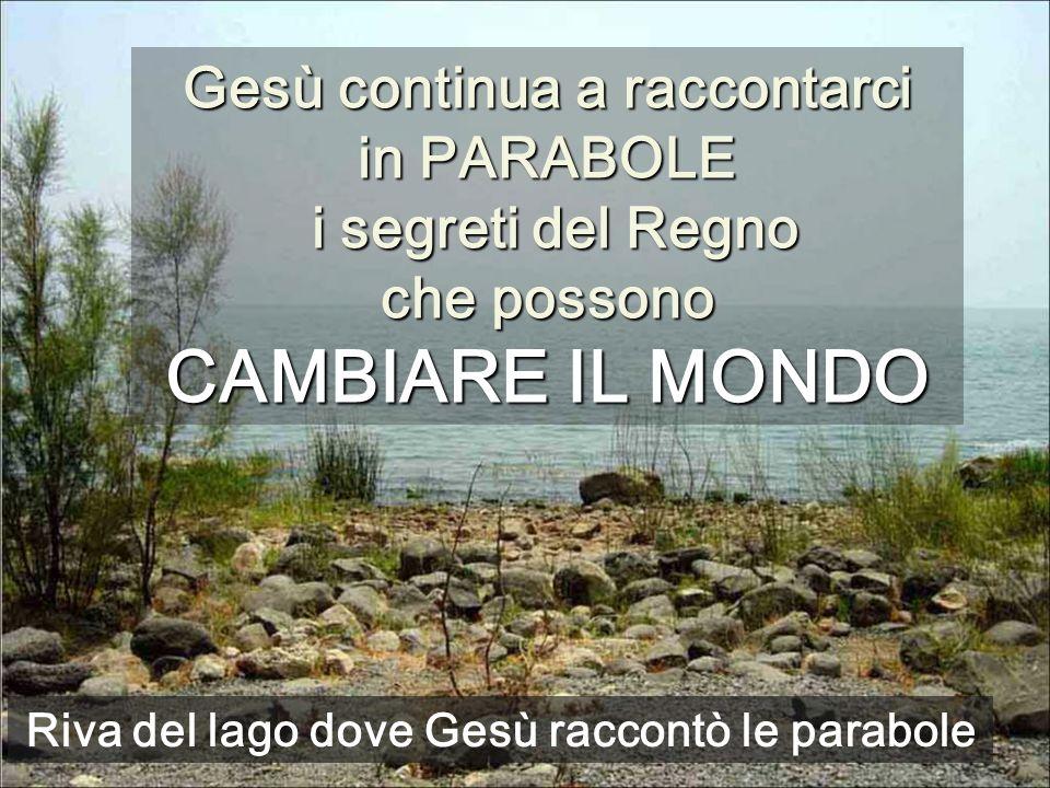 Gesù continua a raccontarci in PARABOLE i segreti del Regno che possono CAMBIARE IL MONDO Riva del lago dove Gesù raccontò le parabole