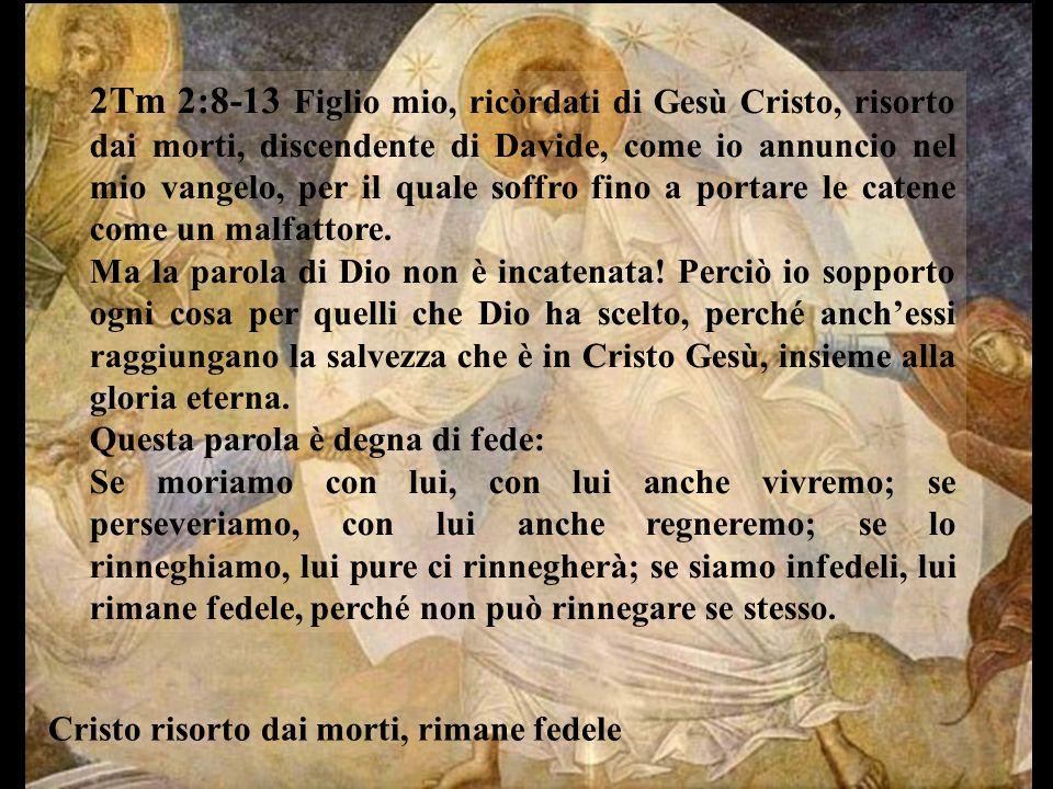 2Tm 2:8-13 Figlio mio, ricòrdati di Gesù Cristo, risorto dai morti, discendente di Davide, come io annuncio nel mio vangelo, per il quale soffro fino