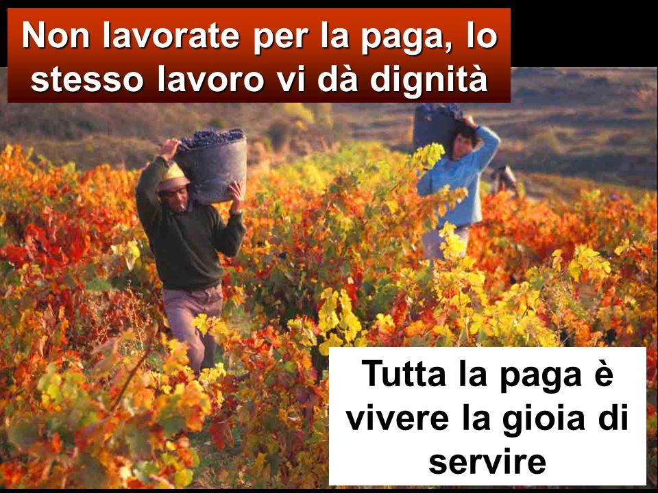 Non lavorate per la paga, lo stesso lavoro vi dà dignità Tutta la paga è vivere la gioia di servire