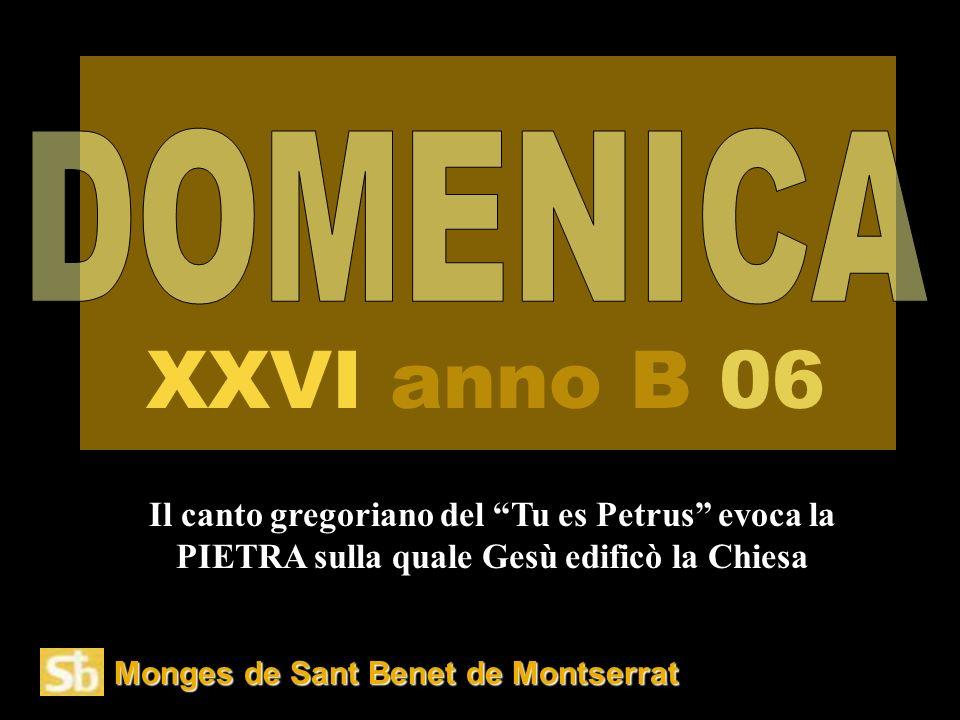 Monges de Sant Benet de Montserrat Il canto gregoriano del Tu es Petrus evoca la PIETRA sulla quale Gesù edificò la Chiesa XXVI anno B 06