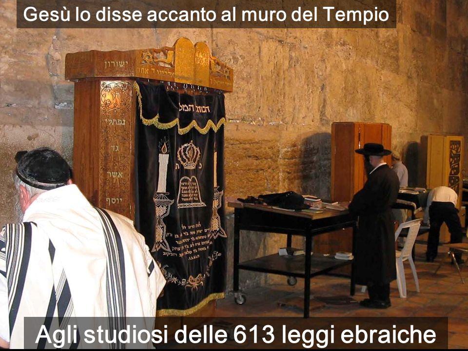 Agli studiosi delle 613 leggi ebraiche Gesù lo disse accanto al muro del Tempio
