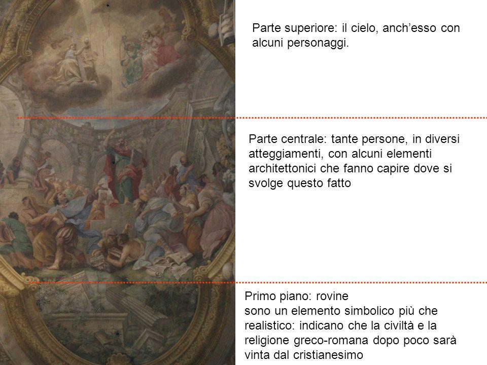 Primo piano: rovine sono un elemento simbolico più che realistico: indicano che la civiltà e la religione greco-romana dopo poco sarà vinta dal cristi