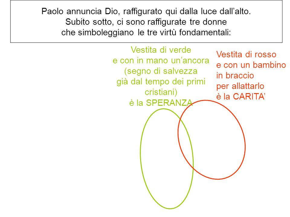 Paolo annuncia Dio, raffigurato qui dalla luce dallalto. Subito sotto, ci sono raffigurate tre donne che simboleggiano le tre virtù fondamentali: Vest