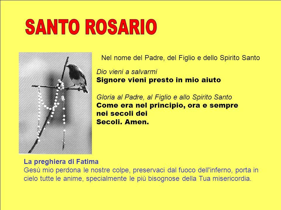 Nel nome del Padre, del Figlio e dello Spirito Santo Dio vieni a salvarmi Signore vieni presto in mio aiuto Gloria al Padre, al Figlio e allo Spirito