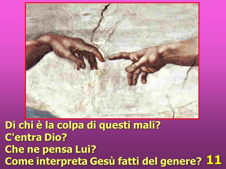 11 Di chi è la colpa di questi mali? C'entra Dio? Che ne pensa Lui? Come interpreta Gesù fatti del genere?