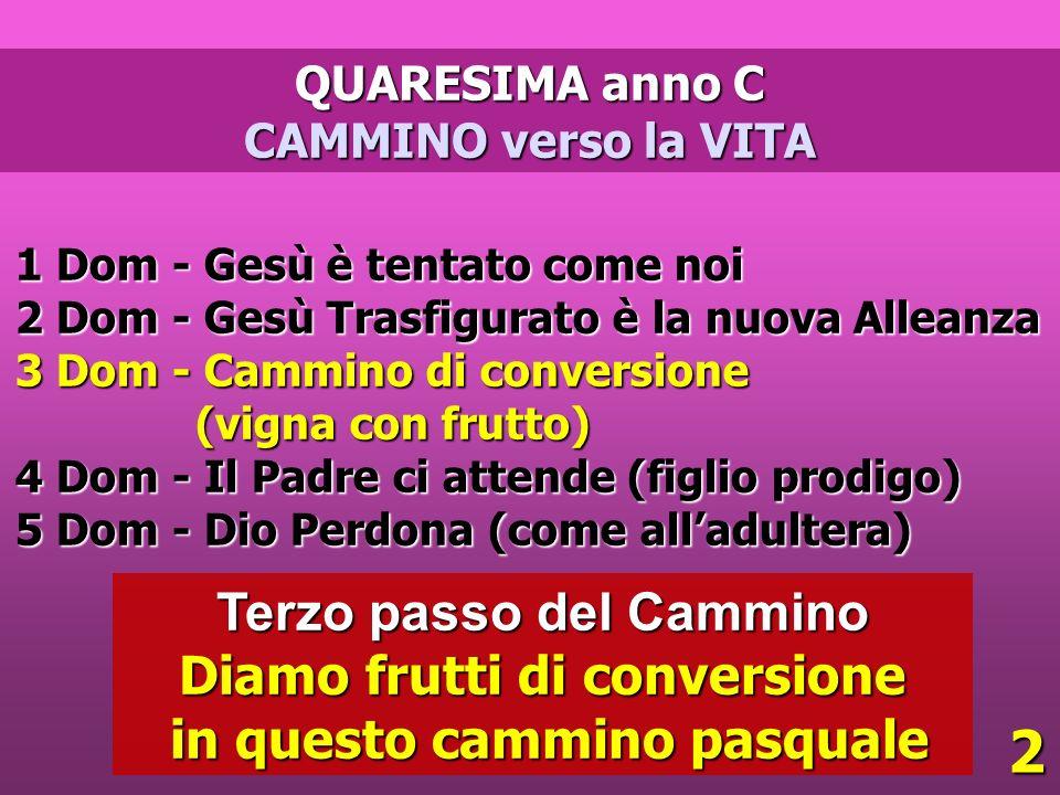 QUARESIMA anno C CAMMINO verso la VITA 1 Dom - Gesù è tentato come noi 2 Dom - Gesù Trasfigurato è la nuova Alleanza 3 Dom - Cammino di conversione (v