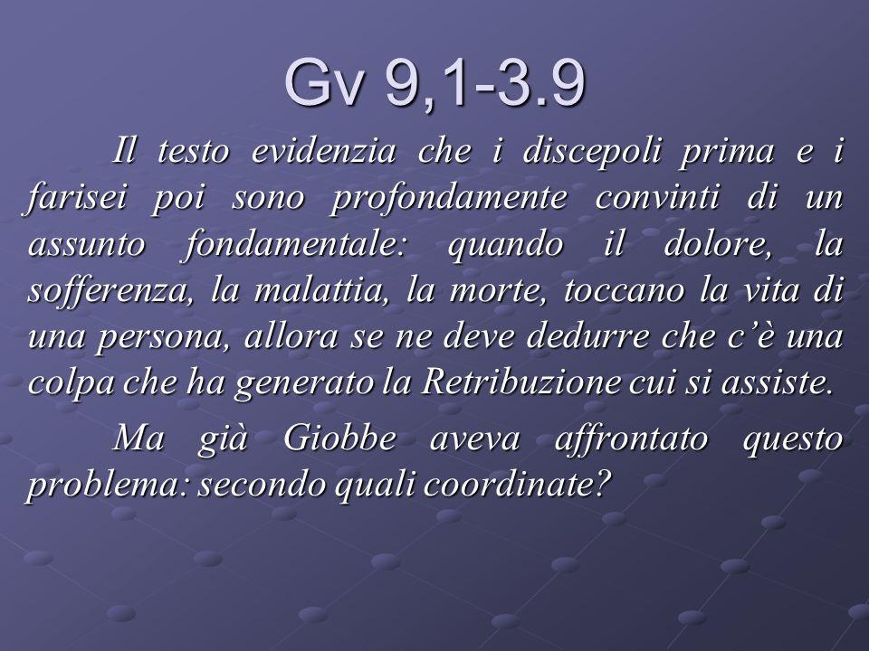 Gv 9,1-3.9 Il testo evidenzia che i discepoli prima e i farisei poi sono profondamente convinti di un assunto fondamentale: quando il dolore, la soffe